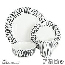 16PCS Porcelain Dinner Set with Geometrical Decal Design