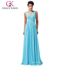 Grace Karin 5 Colors Ladies V-Neck Sleeveless Chiffon Simply Sky Blue Evening Dress Gowns CL6010-3