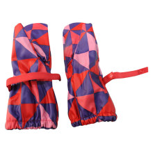 Red Contrast Check PU Rain Gloves for Baby/Child