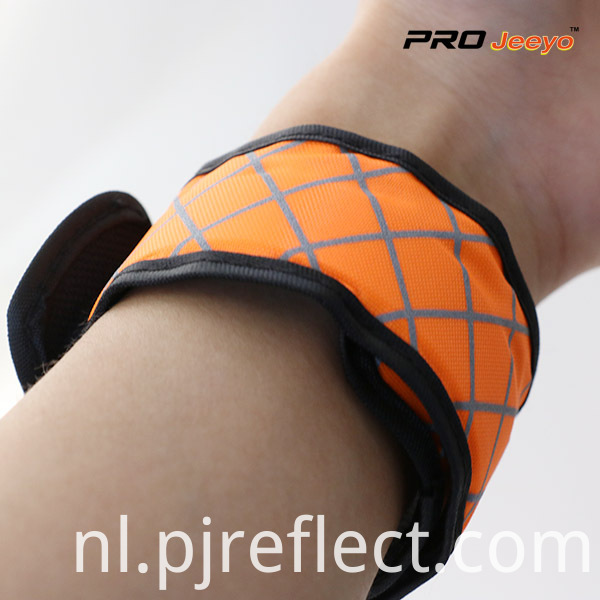 LED Light Nigh Vision Oxford Fabric Orange Plaid ArmbandWB-GW006