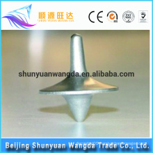 Bottom price best selling cute design metal casting toy parts spinning top