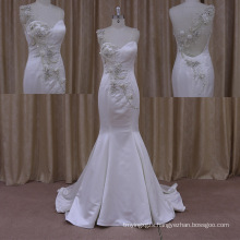 2015 Sexy Chaple Train Silk Satin Wedding Dress