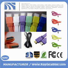 Multicolor 1.3v 1.4v 2.0v Flat Gold Plated HDMI Cable Male to Male For 1080P 3FT 5FT 6FT 10FT 0.5M 1M 1.5M 1.8M 2M 3M 5M 10M.