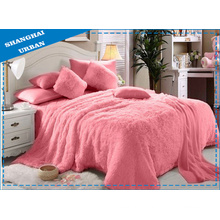 6 Piece Pink Faux Fur Blanket with Bedding Set