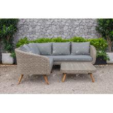 Sofá secional de diseño simple Poly Rattan con acacia / patas de madera de teca para muebles de jardín al aire libre