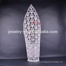 2015 новый дизайн большой высокий титул короны диадемы для женщин