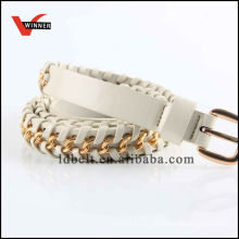 White with Golden Buckle Women's Dressy Braided Belts