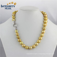 Freshwater Pearl Necklace Luxurious Golden Color 9-13mm Edison Popular Pearl Necklace