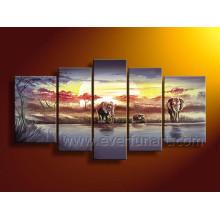 African Art Sunrise Landscape Oil Painting on Canvas (AR-104)