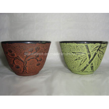 Chinese Traditional Embossed High Quality Enamel Cast Iron Cup
