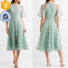 Изящный кружевной Гипюр и тюль зеленый короткий рукав Миди летнее платье Производство Оптовая продажа женской одежды (TA0321D)