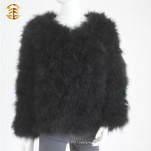 Ropa de piel de Turquía encantadora de piel de plumas chaqueta corta mujer