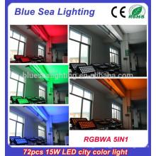 72pcs x 15w rgbwa 5in1pro ip65 led wall washer light