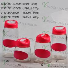 4 PCS Ensemble de récipient en verre avec couvercle en plastique avec poignet noir