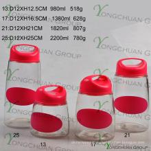 4 шт. Комплект стеклянных контейнеров с пластиковой крышкой для ручки с цветной табличкой на черном панно