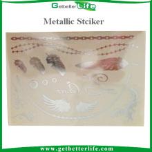 Populaire meilleure vente métallisé or tatouage Sticker pour décoration de corps