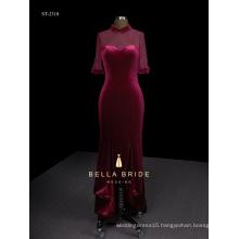 Hi-lo elegant velvet woman evening dress with fishtail hemline