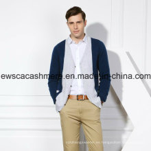 Suéter de cachemira pura mixta de 2 colores para hombre