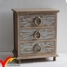 Französische Stil Rustikale Gefärbte 3 Schubladen Nachttische mit Seilknöpfen