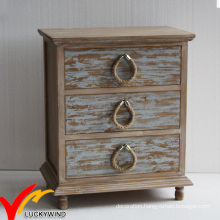 French Style Rustic Stained 3 Drawer Bedside Cabinets with Rope Knobs