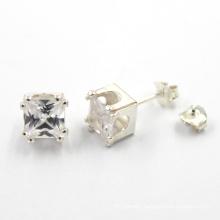 Fashion Women Clear Zircon 925 Sterling Silver Earring Jewelry