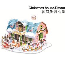 DIY Xmas Casa Tridimensional Natal Puzzle Toy