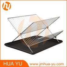 Fregaderos de plato de 2 niveles plegables en X de acero cromado con tablero de drenaje