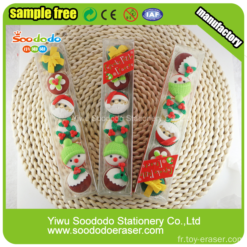 Cute Christmas Cake Shaped Eraser,Newest box package eraser puzzled