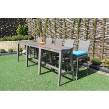 Slender Design Polyethylene Rattan Bar Set with 2 chairs and acacia wooden table for outdoor use