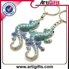 Llavero barato del lagarto de metal de la nueva manera con el diamante artificial