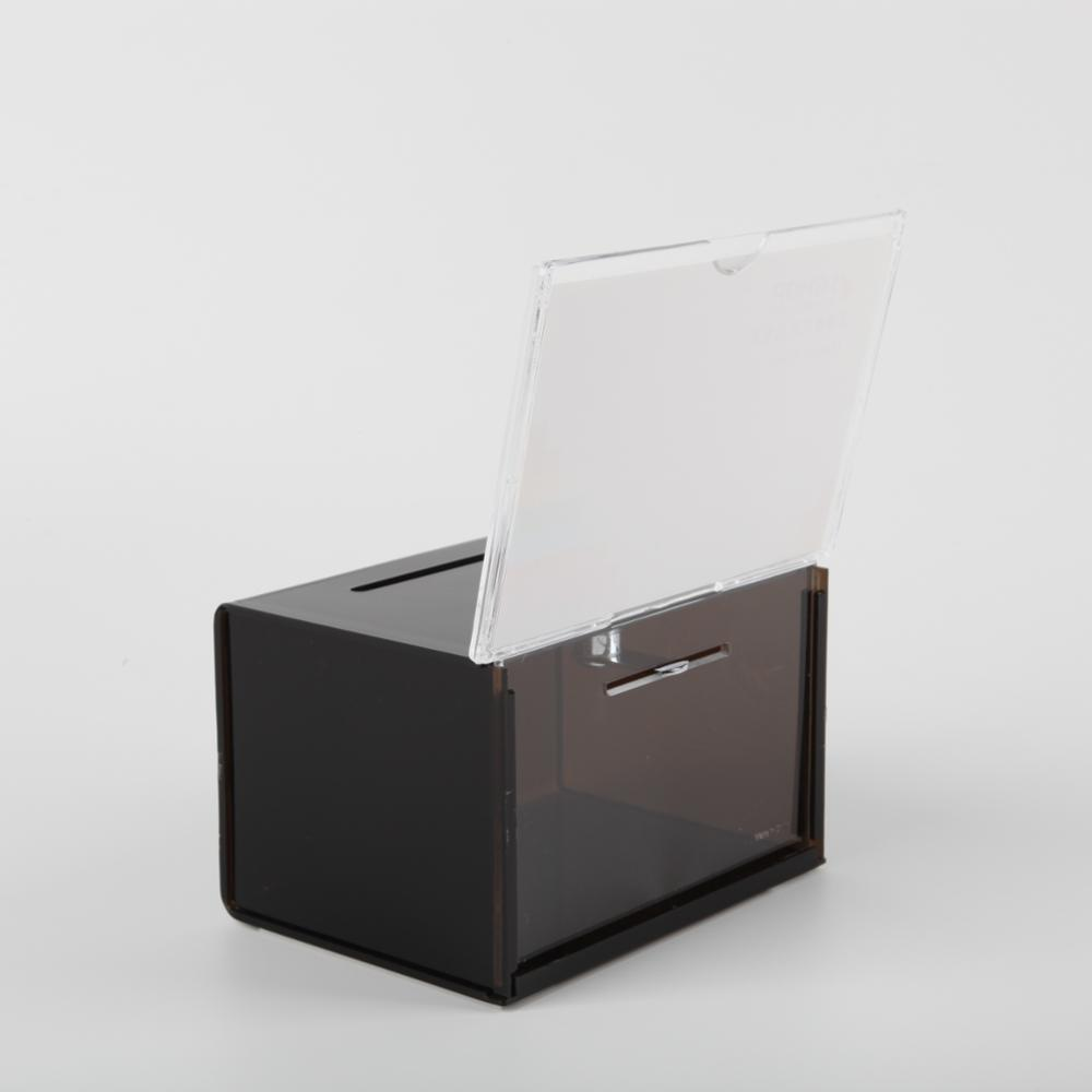 Acrylic Ballot Box With Header Black