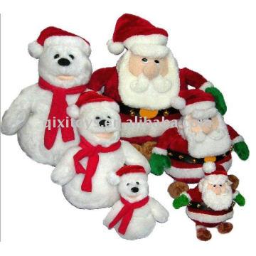 2011 doux bonhomme de neige en peluche Noël bonhomme de neige et le père Noël