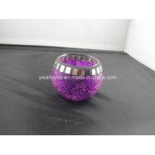 Bougeoir photophore violet mosaïque