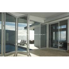 Быстро устанавливаемые двухуровневые алюминиевые складывающиеся двери класса люкс