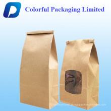 Sacos de café do papel de embalagem 2oz com válvula & laço da lata