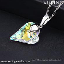 32659-Fashion New Rh Rhong CZ Diamond Heart Jewelry Necklace colgante para niñas regalos