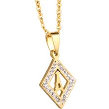 Comercio al por mayor de Acero Cadena de Joyería de Moda de Cristal 18 K Joyería Collar de Oro de Las Mujeres