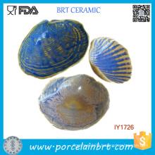 Custom Shell Shape Blue Grey Ceramic Soap Dish Holder