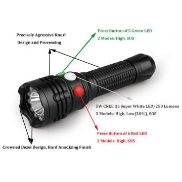 grün-Taschenlampe mit 3 unterschiedlichen Farben der Tasten