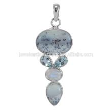 Lovely Dendritic Opal And Multi Gemstone Bijoux Pendentif en Argent Sterling 925