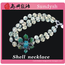 cool big new large beaded crystal fashion multi strand natural long unique handmade flower sea cowry shell necklace for women