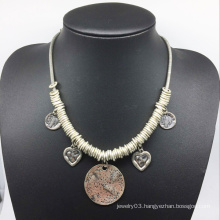 Alloy Ring Parts Drops Chain Necklace (XJW13790)