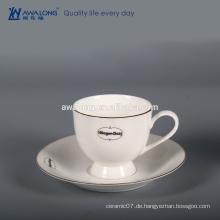 Kundenspezifische Bone China Hohe Helligkeit Weiß Custom Logo Fine Keramik Tasse und Untertasse