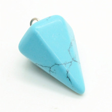 6 side coin Shape Turquoise pendant