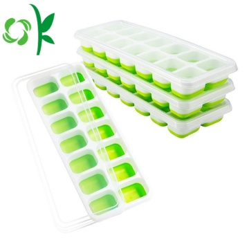 Durable 14Cavities Silicone Ice Freezer Mold Dengan Tutup