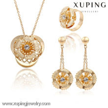 63738 Xuping fashion plaqué or luxe mariée ensembles de bijoux de mariage
