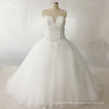 LZ173 Alibaba Beaded Lace Fabric Applique Illusion Wedding Dress Bridal Gown Ball