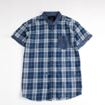 Herren Kurzarm Denim Twill Plaid Shirt