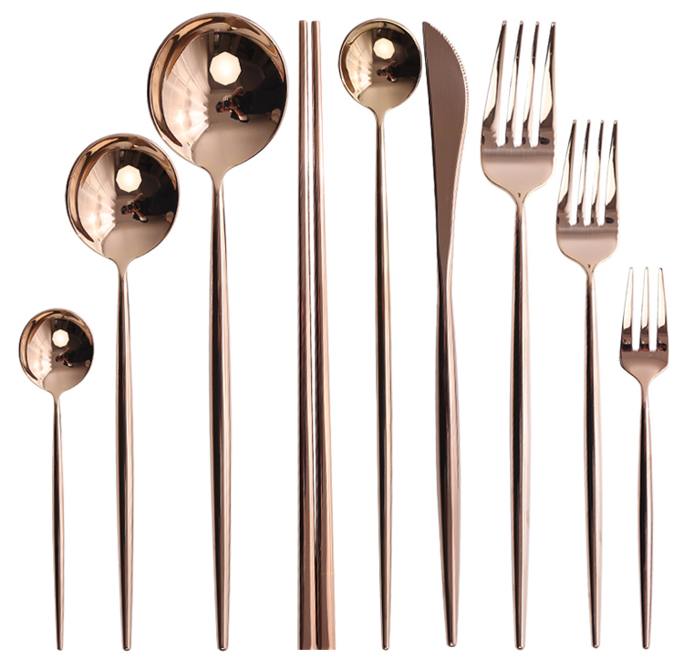 Stainless Steel Shinny Rose Gold Cutlery