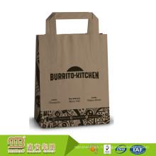 Sacs en papier de Kraft de Brown d'emballage réutilisable fait sur commande d'épicerie imprimée par vente d'usine avec la poignée plate